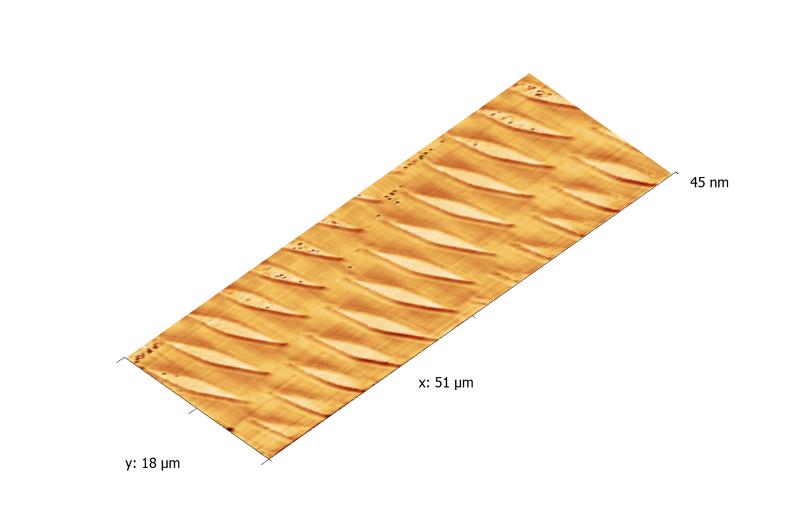 Vanadium test grating. AFM image. Topography 3D.