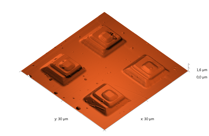 Test grating. AFM image. Semi-contact mode. Topography 3D.