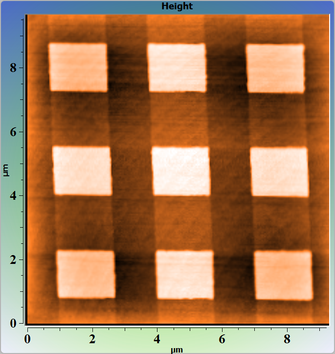 Si/SiO2 test grating. AFM Image. Contact mode. Topography.